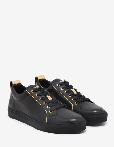 Balmain Black & Gold Leather Trainers