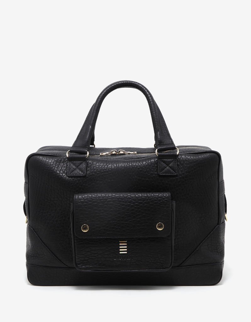 Black Grain Leather Weekend Bag