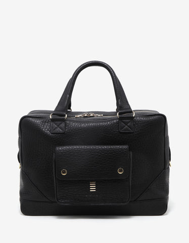 Balmain Black Grain Leather Weekend Bag