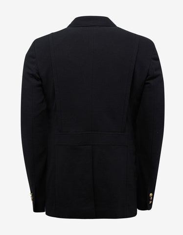 Balmain Black Jersey Safari Blazer with Medal