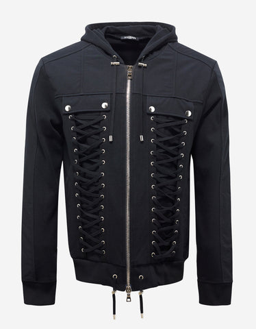 Balmain Black Hoodie with Lattice Detail