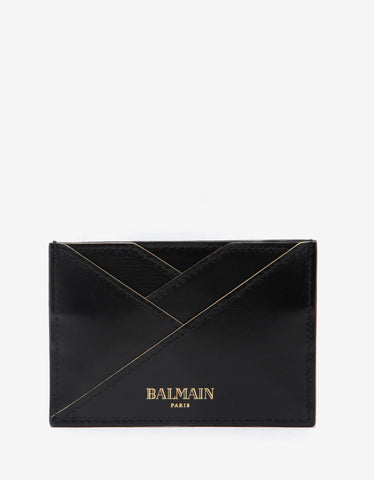 Balmain Black Leather Geometric Card Holder