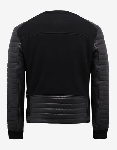 Balmain Black Leather Panel Bomber Jacket