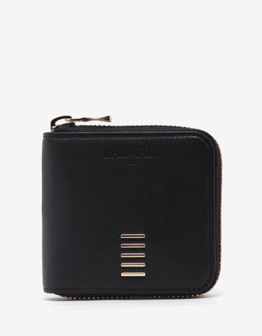 Balmain Black Leather Zip Wallet