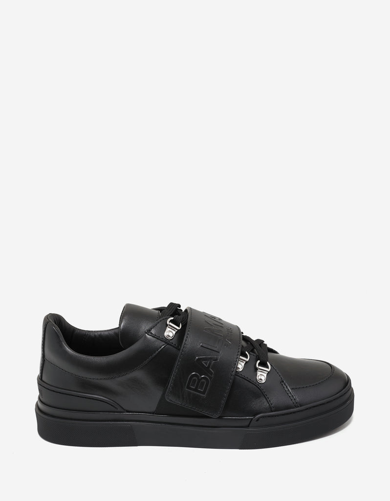 Black Logo Embossed Velcro Strap Trainers