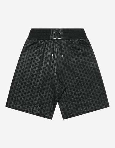 Black Logo Print Sweat Shorts