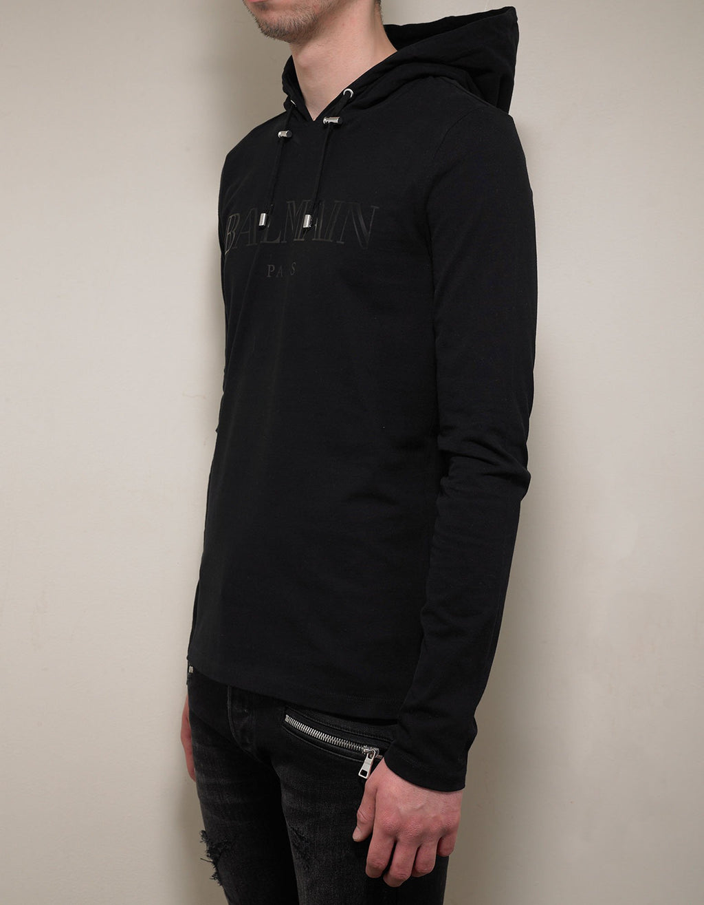 Black Logo Print Hooded T-Shirt -
