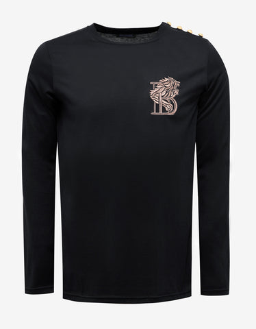 Balmain Black Long Sleeve T-Shirt with 'B' Embroidery