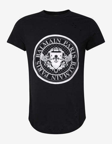 Balmain Black Medallion Graphic T-Shirt