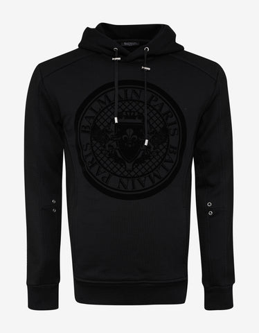 Balmain Black Medallion Print Mesh Panel Hoodie