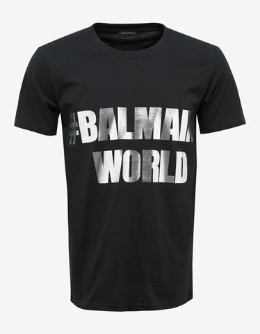 Balmain Black 'Balmain World' Print T-Shirt