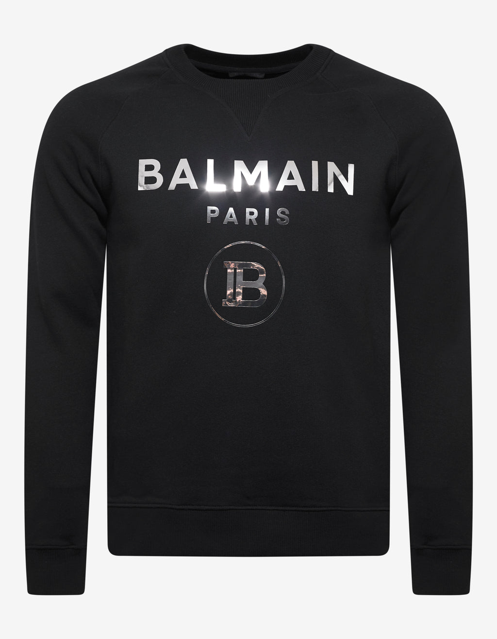 Black Metallic B Logo Print Sweatshirt