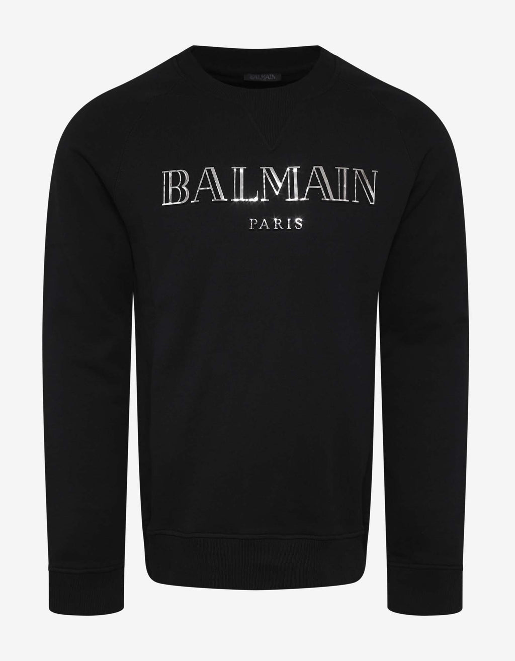 Black Metallic Logo Print Sweatshirt -
