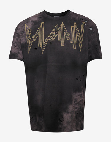 Balmain Black Oversized Distressed T-Shirt