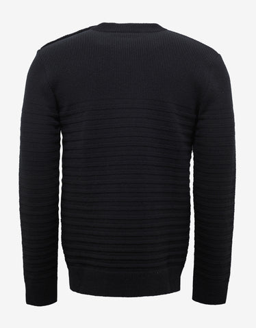 Balmain Black Ribbed Wool Sweater