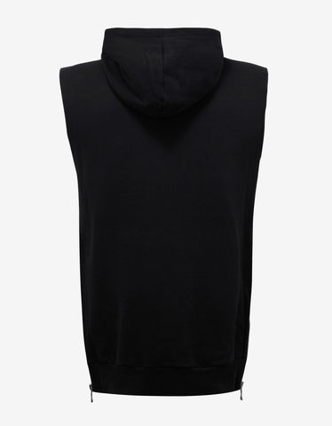 Balmain Black Sleeveless Hoodie with Badge