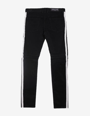 Balmain Black Slim Biker Jeans with White Trim
