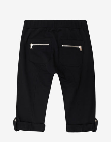 Balmain Black Sweat Shorts with Lace Detail
