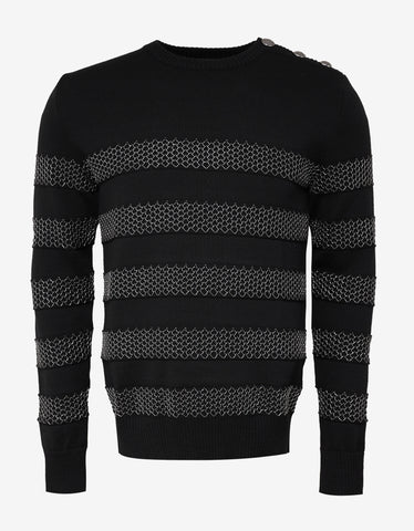 Balmain Black Sweater with Chain Effect Stripes