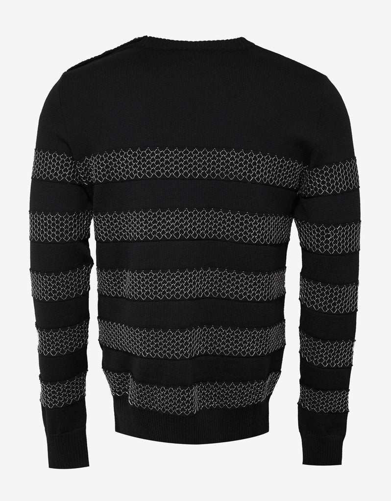 Black Sweater with Chain Effect Stripes