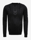 Black Sweater with Silver Swirl Pattern