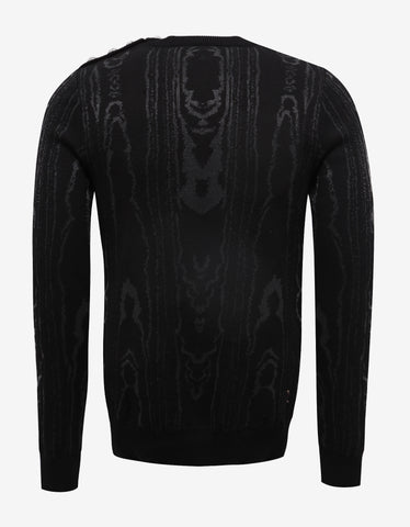 Balmain Black Sweater with Silver Swirl Pattern