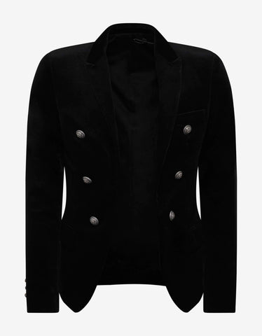 Balmain Black Velvet 6 Button Blazer