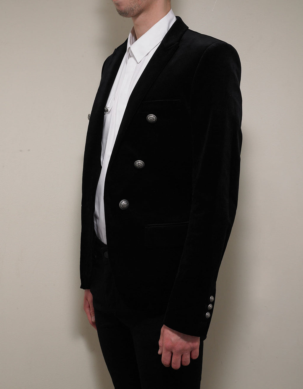 Black Velvet 6 Button Blazer -