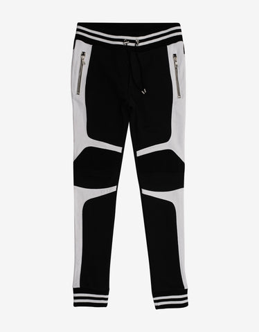 Balmain Black & White Biker Sweat Pants