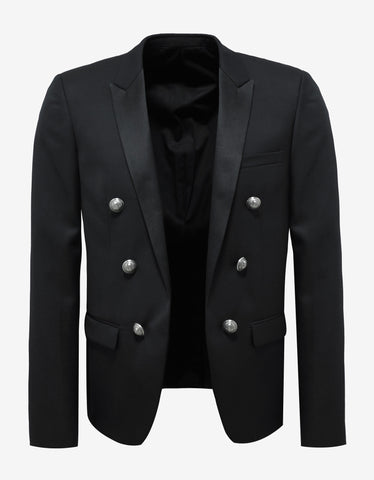 Balmain Black Wool Blazer with Satin Lapels