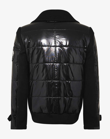 Balmain Black Wool & Nylon Pea Jacket with Badge