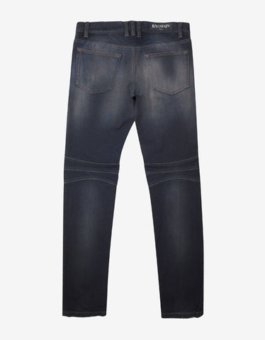 Balmain Blue Slim Fit Denim Biker Jeans