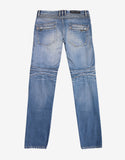 Light Blue Distressed Slim Biker Jeans
