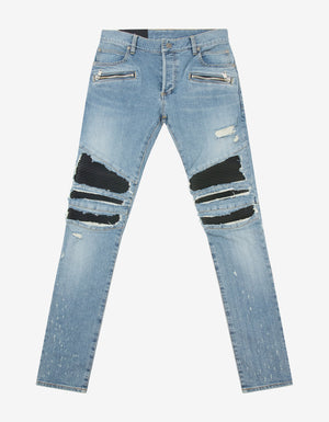 Blue Ribbed Panel Light Destroyed Slim Biker Jeans