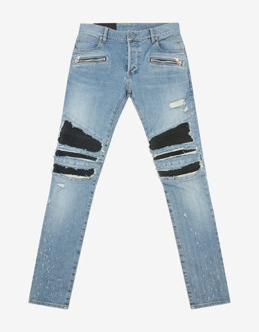 Blue Stretch-Denim Slim Jeans