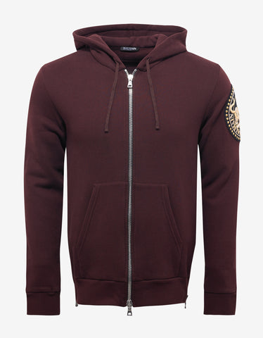Balmain Burgundy Hoodie with Arm Badge