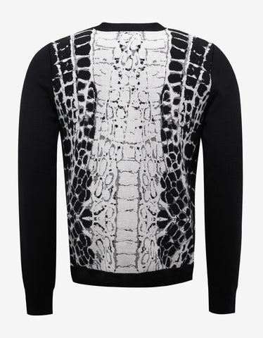 Balmain Crocodile Pattern Wool Sweater