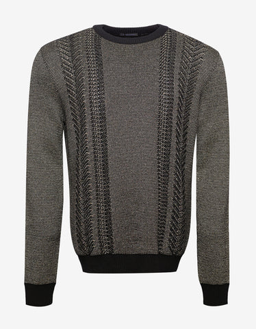 Balmain Gold & Black Wool Blend Sweater