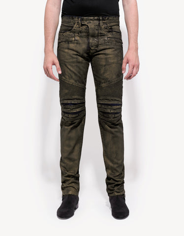Balmain Gold Coated Slim Biker Jeans