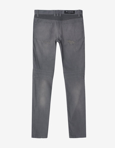 Balmain Washed Grey Distressed Biker Jeans