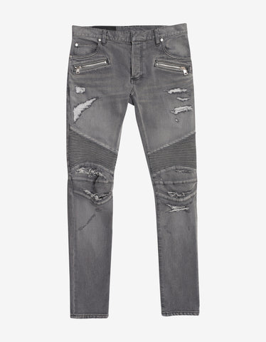 Balmain Grey Distressed Skinny Biker Jeans