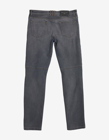 Balmain Grey Distressed Slim Biker Jeans