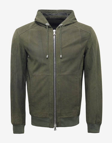 Balmain Khaki Suede Leather Bomber Jacket