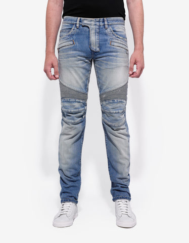 Balmain Light Blue Distressed Slim Biker Jeans