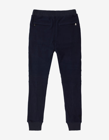 Balmain Navy Blue Biker Sweat Pants with Bands