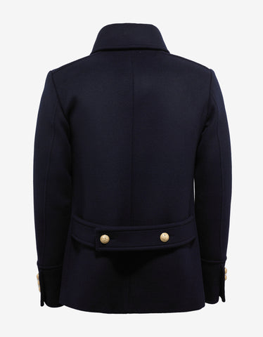 Balmain Navy Blue Double-Breasted Wool Coat