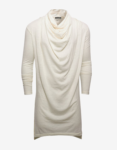 Balmain Off-White Draped Long Sleeve T-Shirt