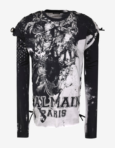 Balmain Printed Long Sleeve T-Shirt with Lace Detail