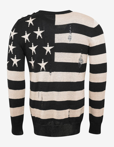 Balmain Stars & Stripes Distressed Sweater