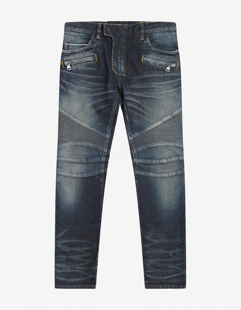 Wash Blue Medallion Biker Jeans